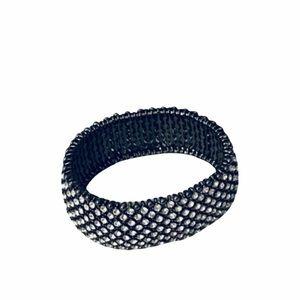 Rhinestone & Gunmetal Silver Stretch Bracelet